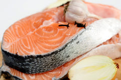 Delicious fresh salmon steak Stock Photography