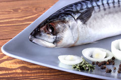 Delicious fresh sea fish on wooden background. Healthy food, diet or cooking concept Stock Images