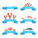 Delicious Fresh Seafood Promotional Emblems Set Royalty Free Stock Image