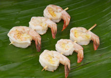 Delicious fresh shrimp on a green banana leaf Royalty Free Stock Photography
