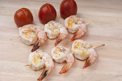 Delicious fresh shrimp on a wooden board peeled Royalty Free Stock Photo