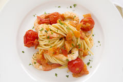 Shrimps And Spaghetti Stock Photography