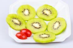 Delicious fresh  slice kiwi fruit on  white background Stock Images