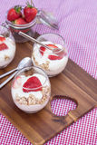 Delicious fresh strawberries and yoghurt breakfast. Fresh strawberries with yoghurt at breakfast Royalty Free Stock Photo