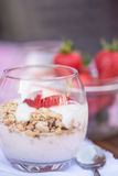 Delicious fresh strawberries and yoghurt breakfast. Fresh strawberries with yoghurt at breakfast Stock Photos