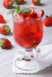 Delicious fresh strawberry cocktail on the table Royalty Free Stock Images