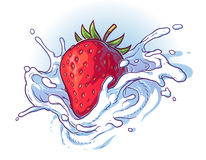 Delicious fresh strawberry falling into cream or milk. Stock Photography