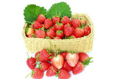 Delicious & fresh strawberry in square shape basket wicker,on wh Stock Image