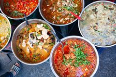 Delicious Fresh Street Food In Thailand - Top View - Thai Curry, Tamarind, Tom Yam, Shrimp, Pork, Pad Thai Stock Photography
