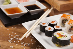 Delicious fresh sushi on table Stock Photo