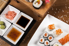 Delicious fresh sushi top view Stock Photo