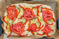 Delicious fresh traditional Italian focaccia bread uncooked Stock Images