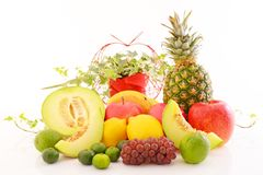Fresh fruits. Delicious and fresh variety fruits stock images
