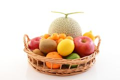 Fresh fruits. Delicious and fresh variety fruits on white background royalty free stock images