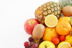 Fresh fruits. Delicious and fresh variety fruits on white background stock photo