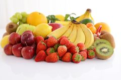 Fresh fruits. Delicious and fresh variety fruits on white background stock images