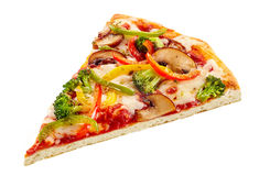 Delicious fresh vegetable pizza on a crisp base royalty free stock image