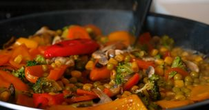 Delicious fresh vegetables are stewed in a pan, food for vegetarians at home. Concept of: Veg, Bio Product, Mushrooms, Broccoli, Colored Cabbage, Carrot, Corn stock video footage