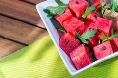 Delicious fresh watermelon and arugula salad Royalty Free Stock Photos