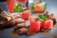 Delicious fresh watermelon cocktail, pieces of chocolate and cin Stock Photography