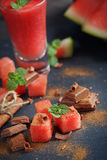 Delicious fresh watermelon cocktail, pieces of chocolate and cin Royalty Free Stock Photography