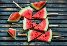 Delicious fresh watermelon. Ice cream with watermelons Royalty Free Stock Images