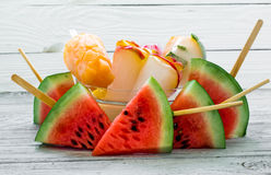 Delicious fresh watermelon. Ice cream with watermelons Royalty Free Stock Photo