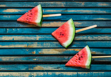 Delicious fresh watermelon. Ice cream with watermelons Stock Photos