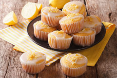 Delicious freshly baked homemade lemon muffins zest sprinkles cl Royalty Free Stock Photography
