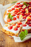 Delicious freshly baked strawberry tart Royalty Free Stock Photos