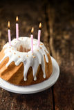 Delicious freshly baked vanilla birthday cake Royalty Free Stock Photo