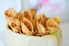 Delicious freshly baked waffles served on a party or wedding reception. royalty free stock image