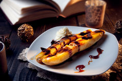 Delicious fried banana dessert with chocolate Royalty Free Stock Photo