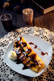 Delicious fried banana dessert with chocolate Stock Images