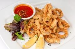 Delicious Fried Calamari. Plate of fried calamari served with marinara sauce and lemon stock photos