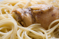 Delicious fried chicken & pasta Stock Photography
