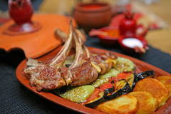 Delicious fried meat and vegetables Stock Photography
