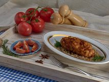 Delicious fried Patty of chicken meat, Pozharskaya.With creamy mushroom sauce.Fresh vegetable salad.Fried toast. stock photo