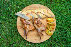 Delicious Fried Quail With Bread And Potatos Stock Photography