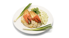 Delicious fried rice with crab. Thai fried rice with crab meat on white Stock Images