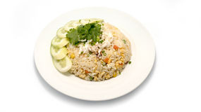 Delicious fried rice with crab. Thai fried rice with crab meat on white Stock Photos