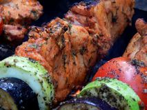 Delicious fried shish kebab with vegetables on a spit Stock Images