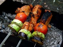 Delicious fried shish kebab with vegetables on a spit Royalty Free Stock Photo