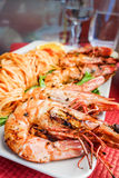 Delicious fried shrimp with pasta Royalty Free Stock Photo