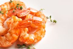 Delicious fried shrimps on light background. Closeup Royalty Free Stock Images