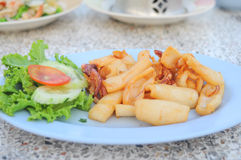 Delicious fried squid Stock Photography