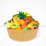Delicious Fruit Basket. Cartoon Illustration Stock Photo