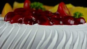 Delicious fruit cake,cherry,tomato,pineapple. stock video footage