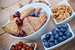 Delicious fruit cookies - wholemeal cookies. Wholemeal cookies - fruit cookies in white bowl Royalty Free Stock Photos