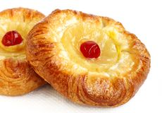 Delicious fruit Danish Pastry. Fruit Danish or Danish pastry are made of flour, yeast, milk, eggs and butter Stock Photos